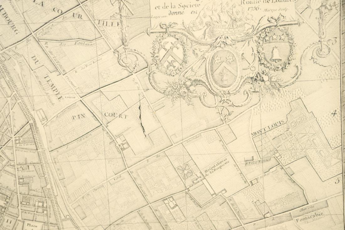 VINTAGE REPRODUCTION 18TH C. MAP OF PARIS - 6
