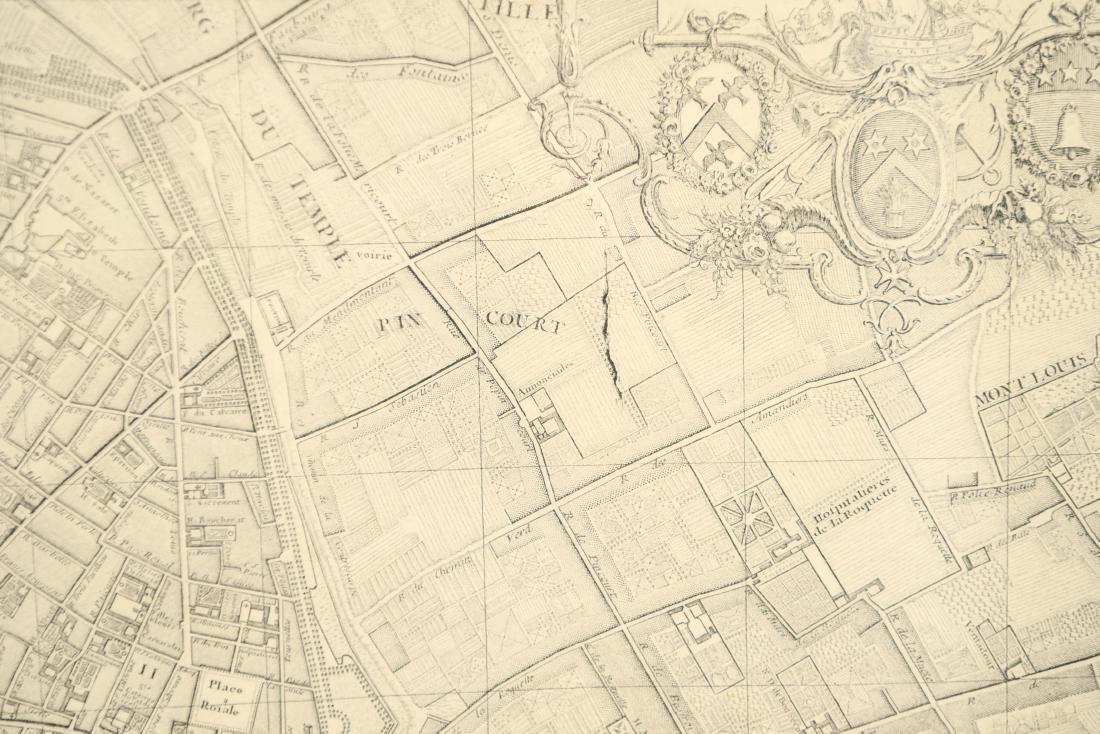 VINTAGE REPRODUCTION 18TH C. MAP OF PARIS - 7