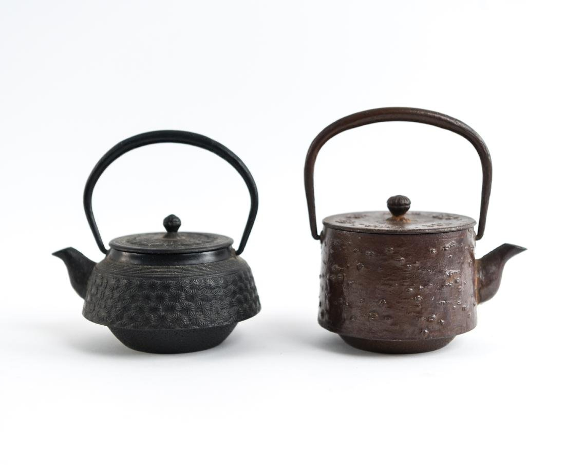 (2) JAPANESE IRON TEA POTS
