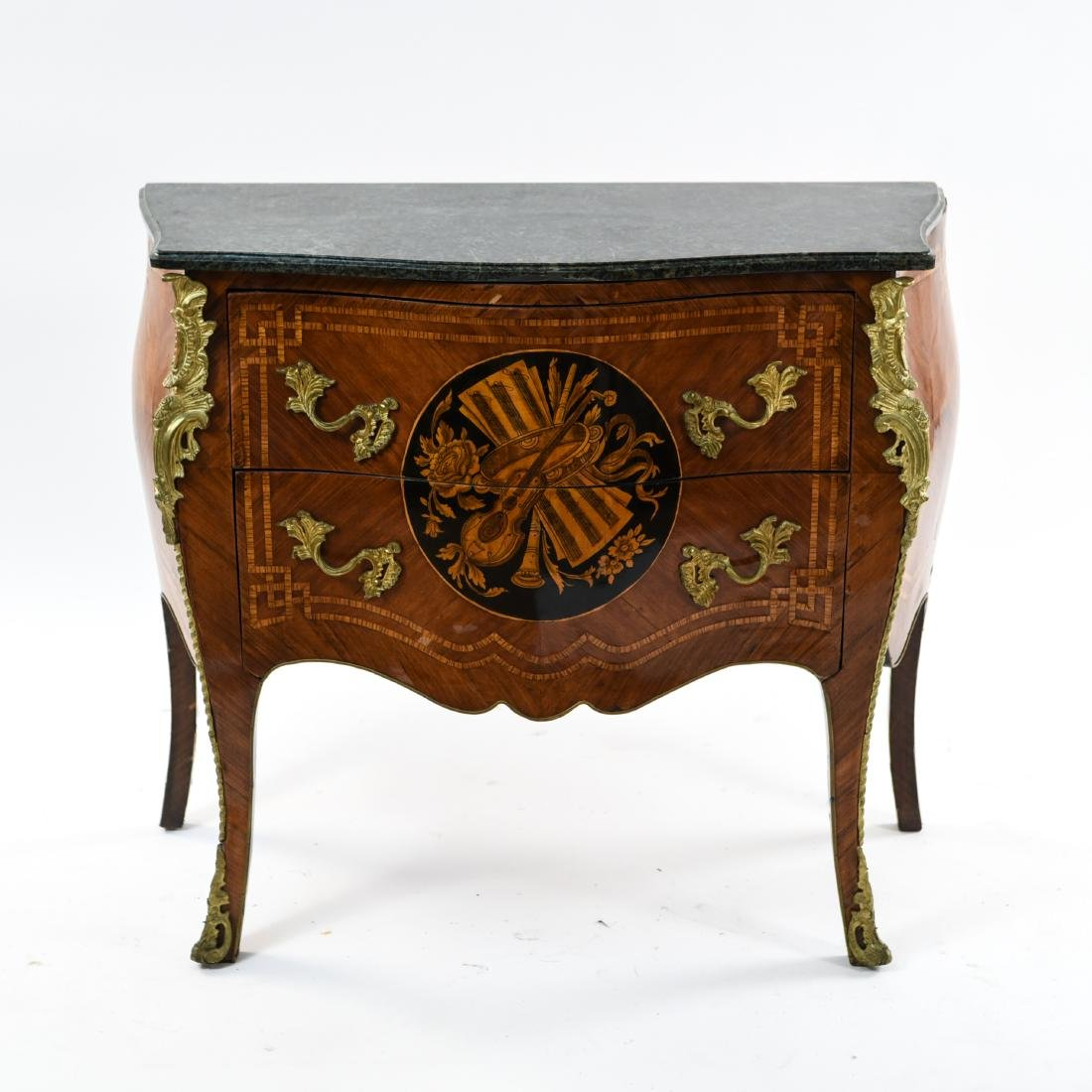 20TH C. DECORATIVE FRENCH MARBLE TOP COMMODE