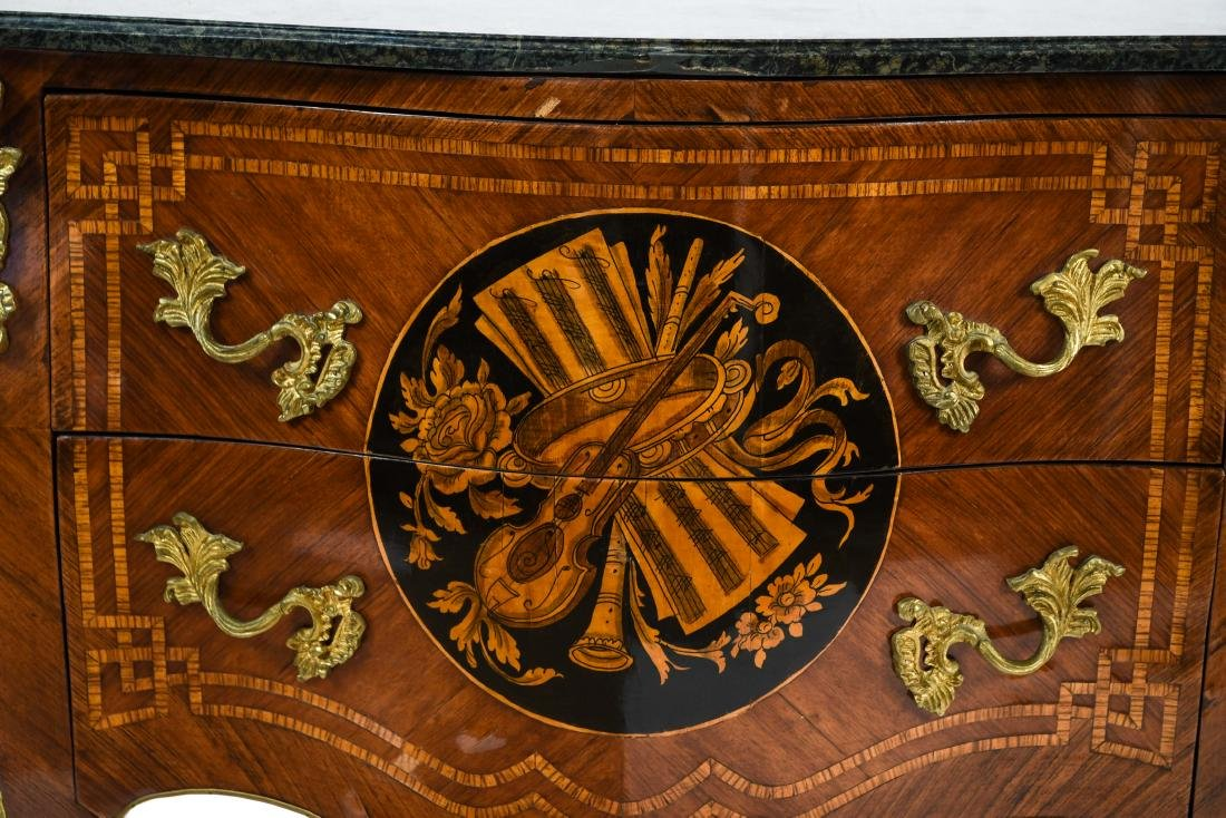 20TH C. DECORATIVE FRENCH MARBLE TOP COMMODE - 3