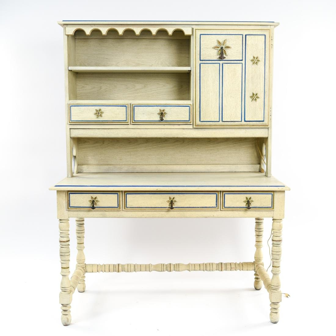 PAINT DECORATED STANLEY DESK WITH BOOKCASE - 2