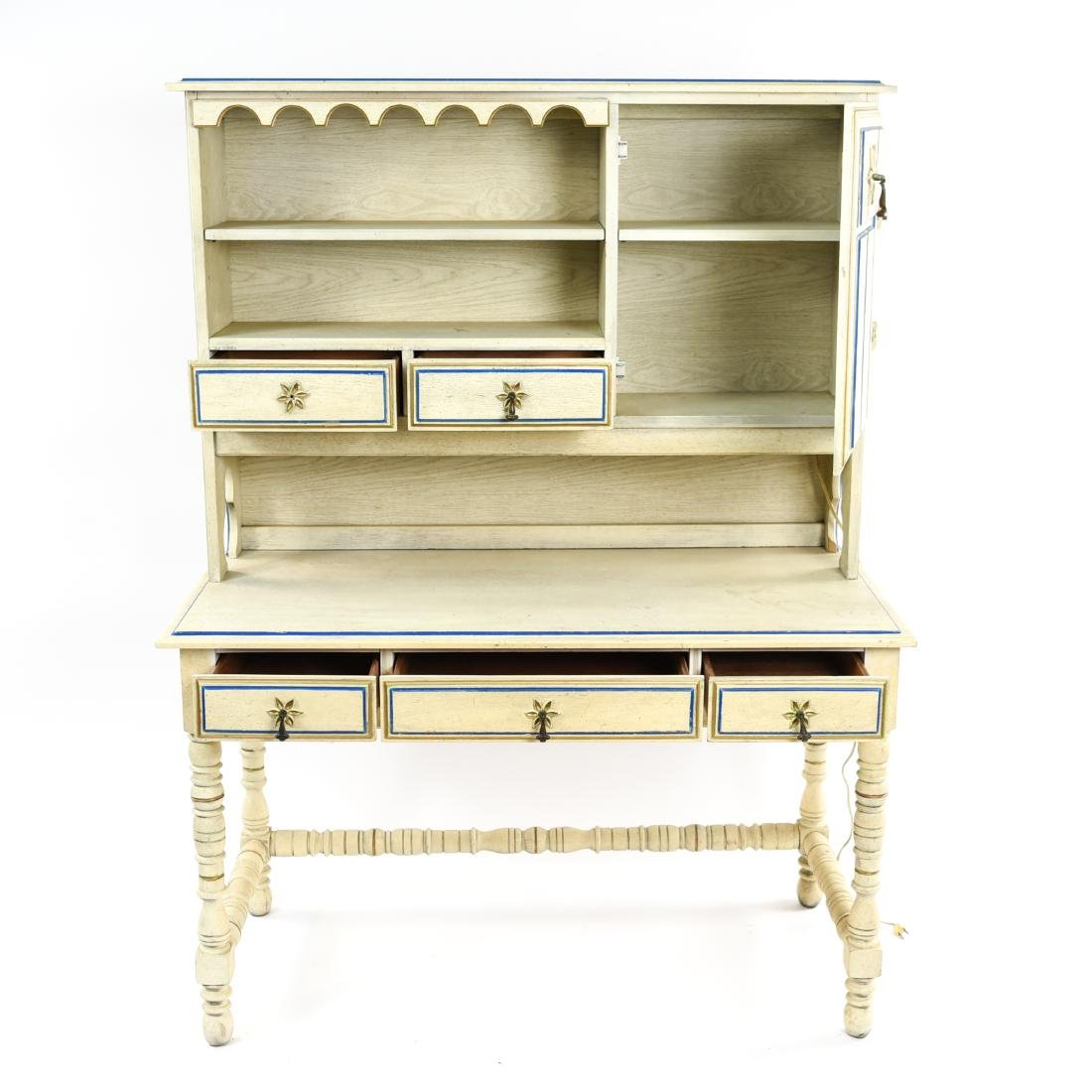 PAINT DECORATED STANLEY DESK WITH BOOKCASE - 6