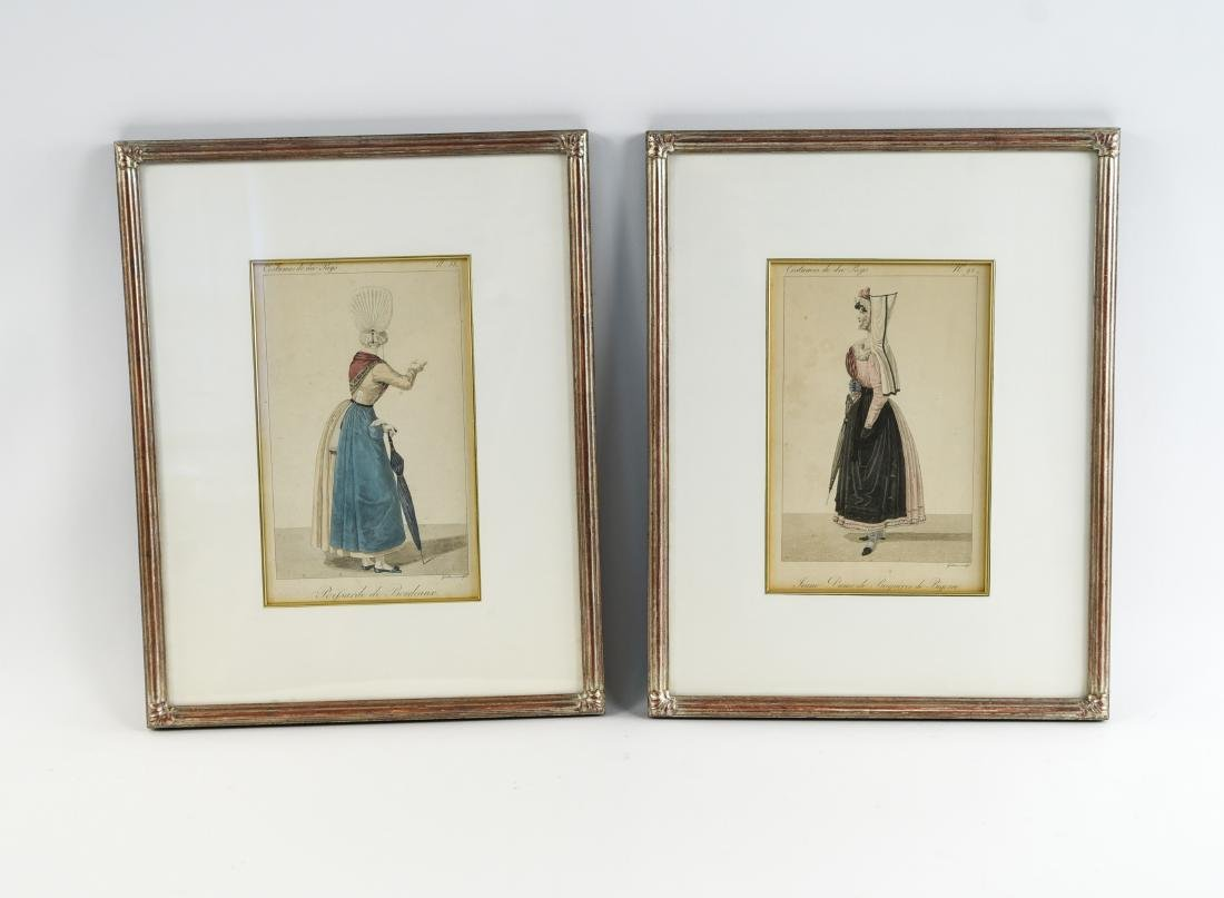 PAIR OF FRENCH 19TH C. HAND COLORED ENGRAVINGS