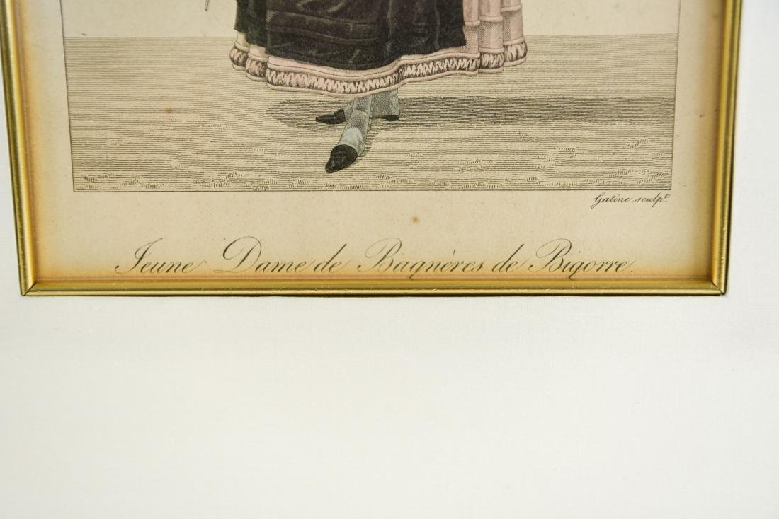 PAIR OF FRENCH 19TH C. HAND COLORED ENGRAVINGS - 2