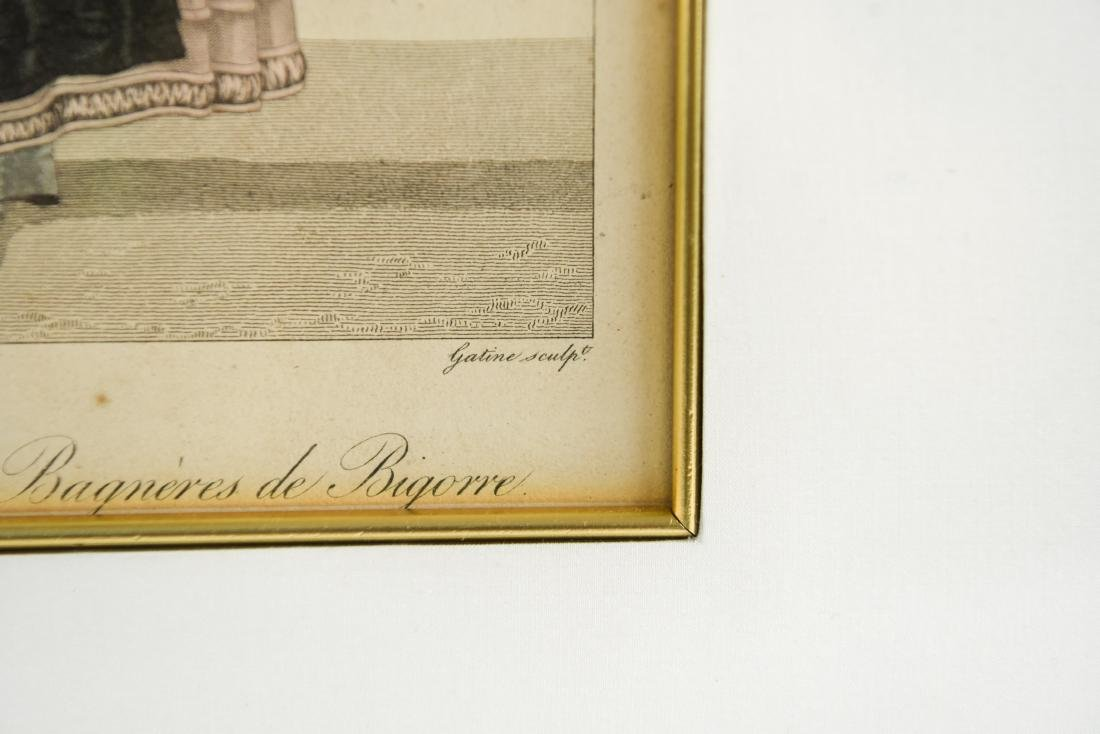 PAIR OF FRENCH 19TH C. HAND COLORED ENGRAVINGS - 3