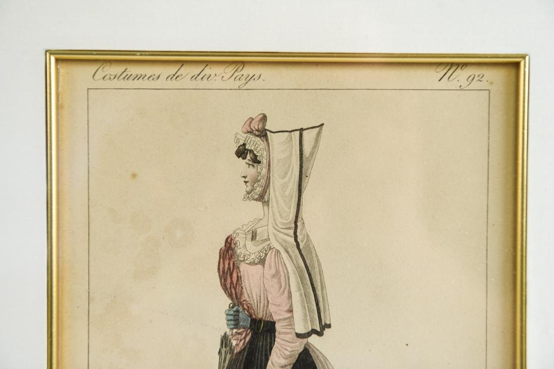 PAIR OF FRENCH 19TH C. HAND COLORED ENGRAVINGS - 5