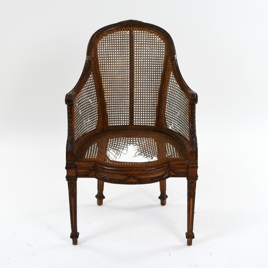ANTIQUE FRENCH CANED CHAIR