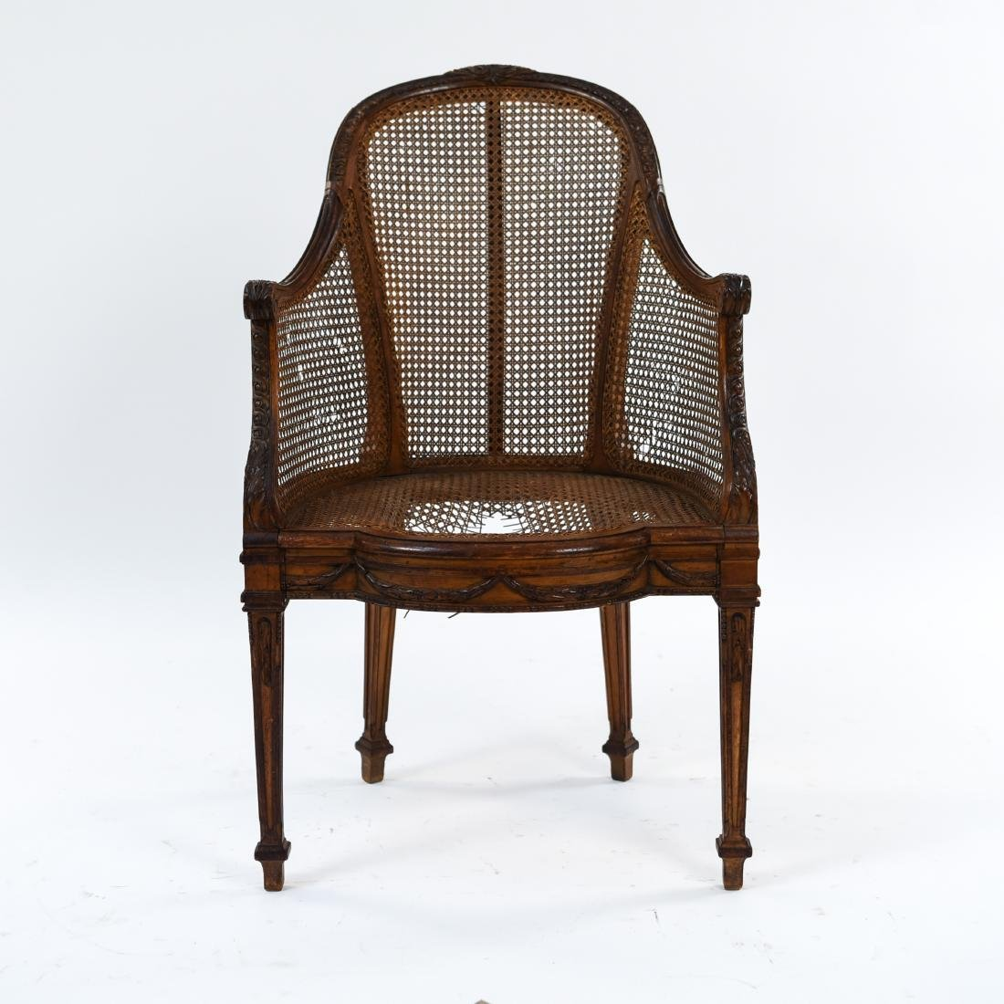 ANTIQUE FRENCH CANED CHAIR - 2