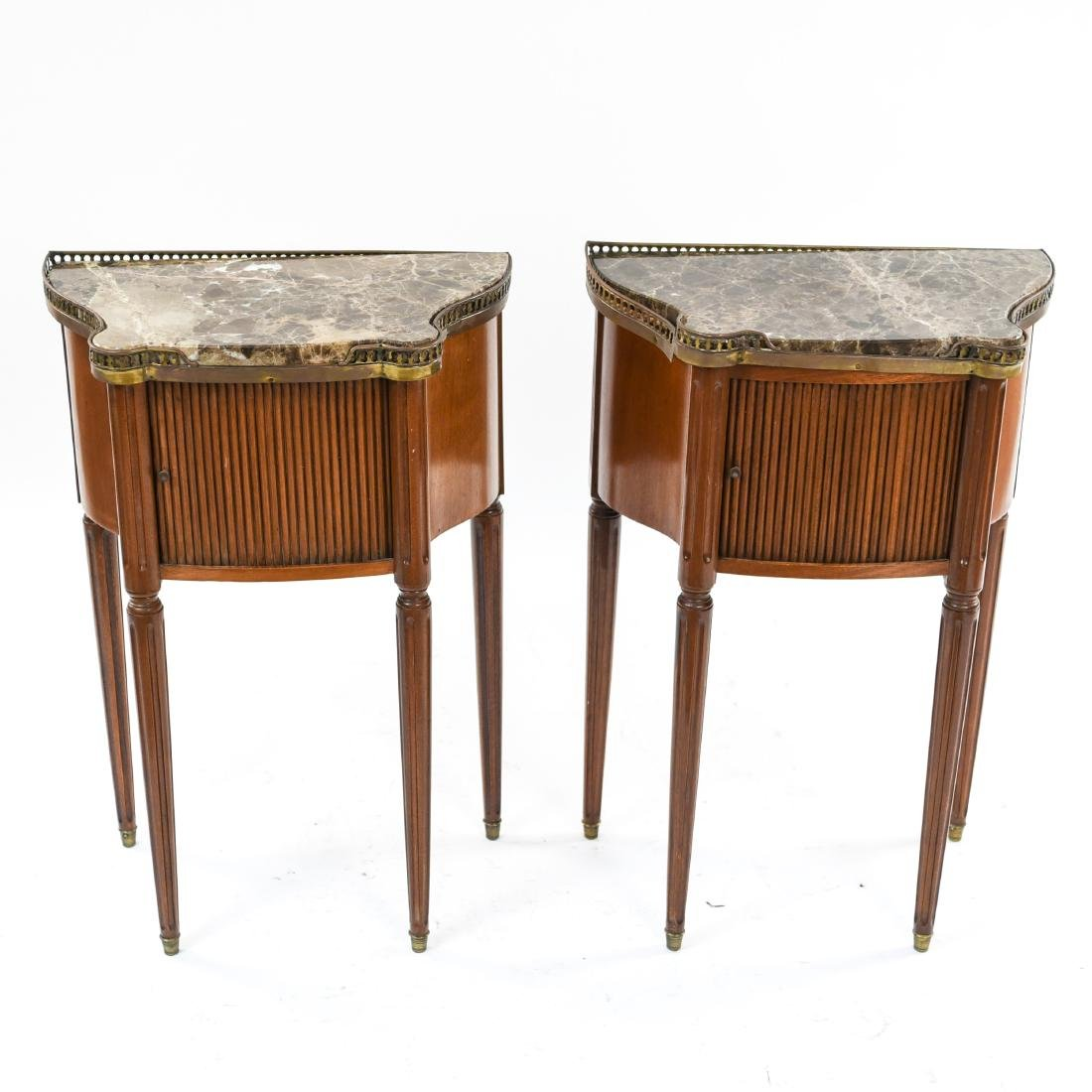 PAIR OF FRENCH MARBLE TOP SIDE TABLES - 2