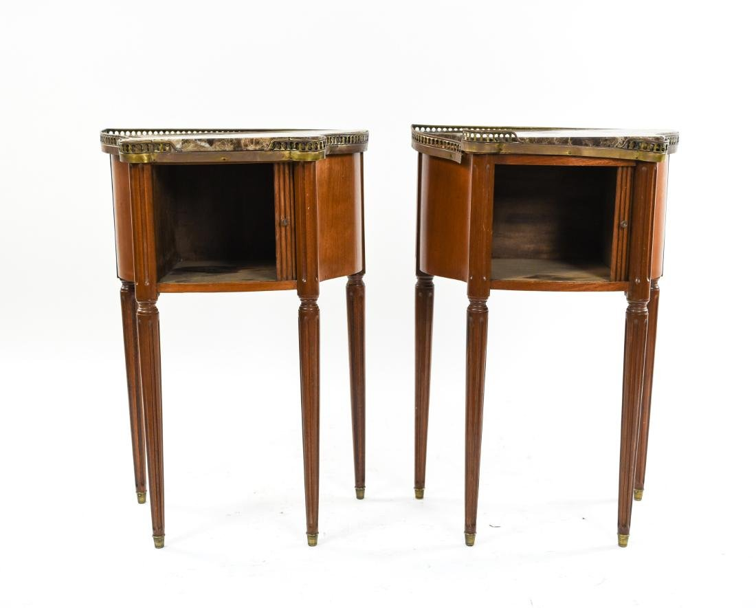 PAIR OF FRENCH MARBLE TOP SIDE TABLES - 6