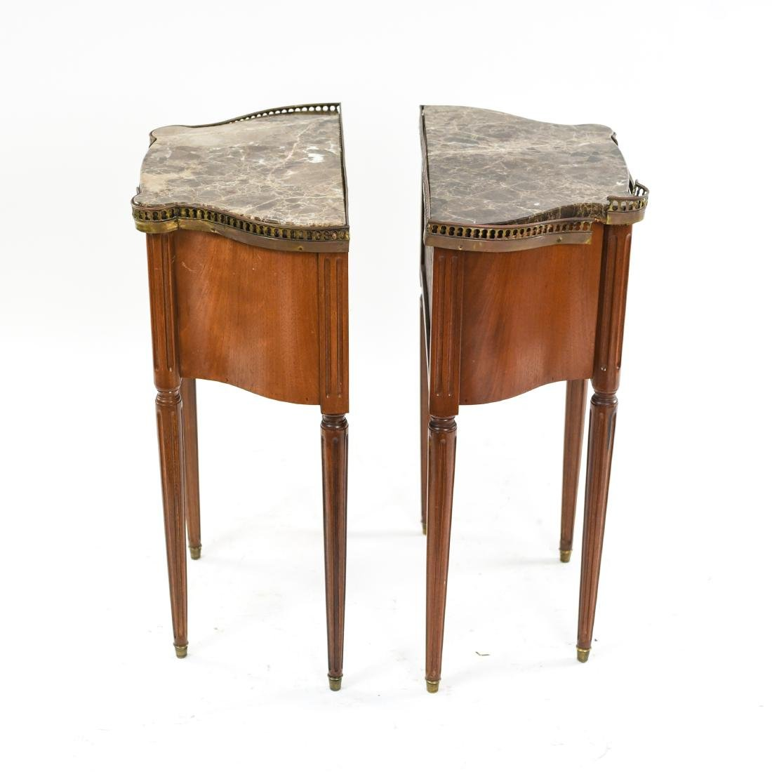 PAIR OF FRENCH MARBLE TOP SIDE TABLES - 8