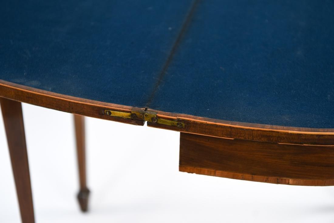ANTIQUE FLIP TOP INLAID DEMI LUNE TABLE - 8