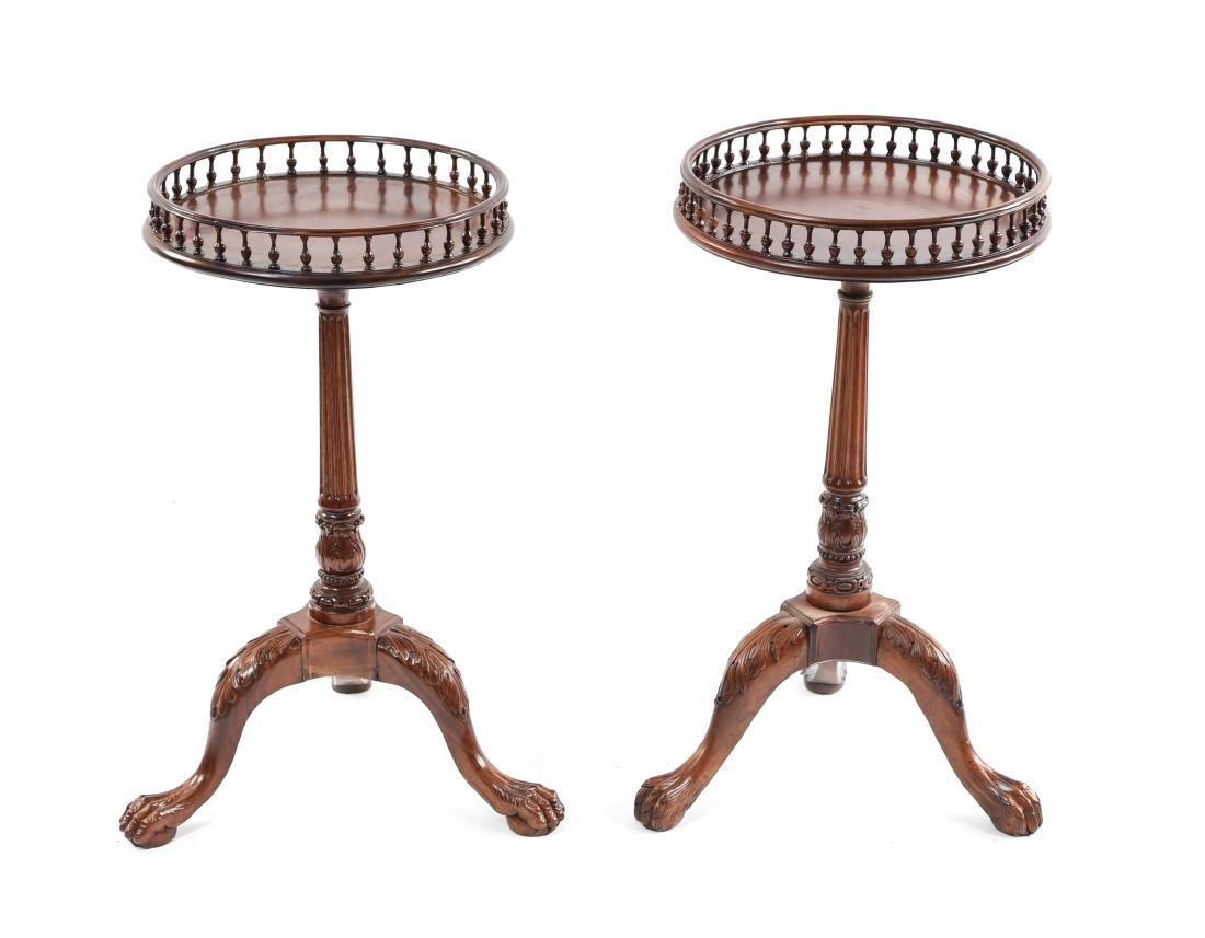 PAIR OF THREE LEG SIDE TABLES