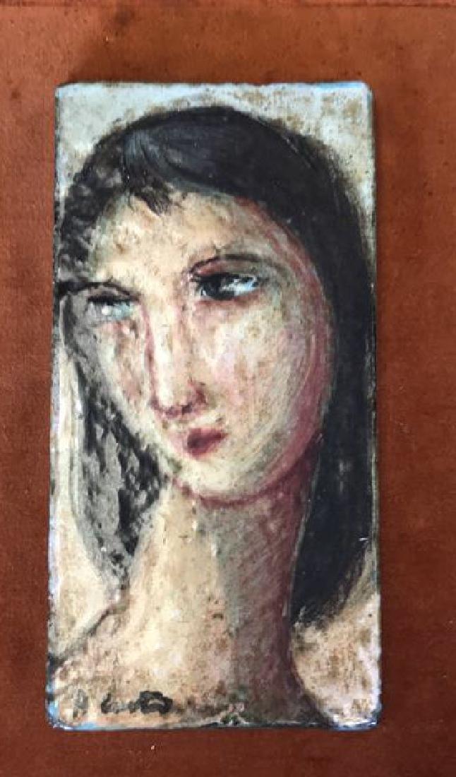 MID-CENTURY FEMALE PORTRAIT ON TILE