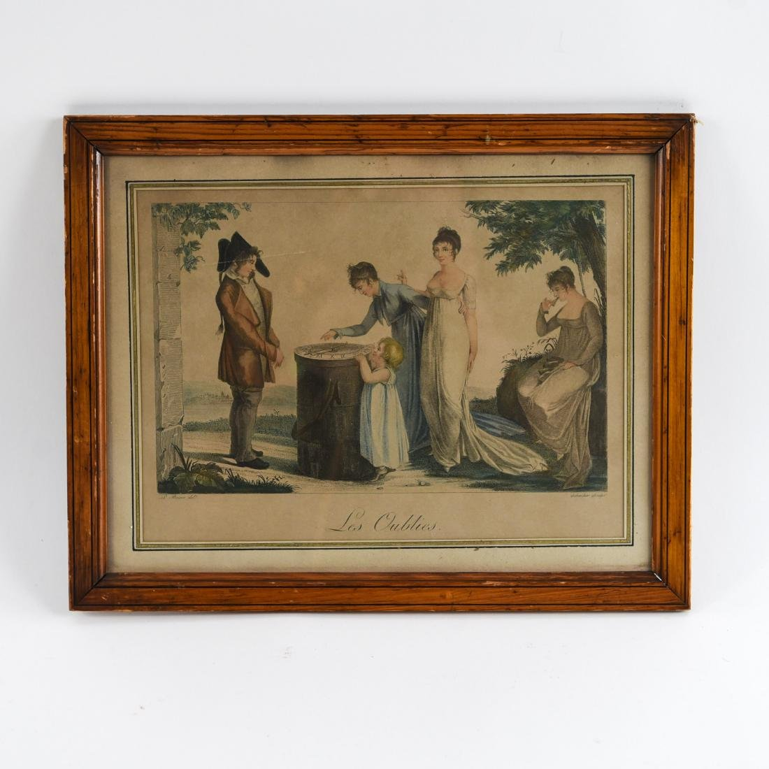 19TH C. FRENCH HAND COLORED AQUATINT W/ SUNDIAL