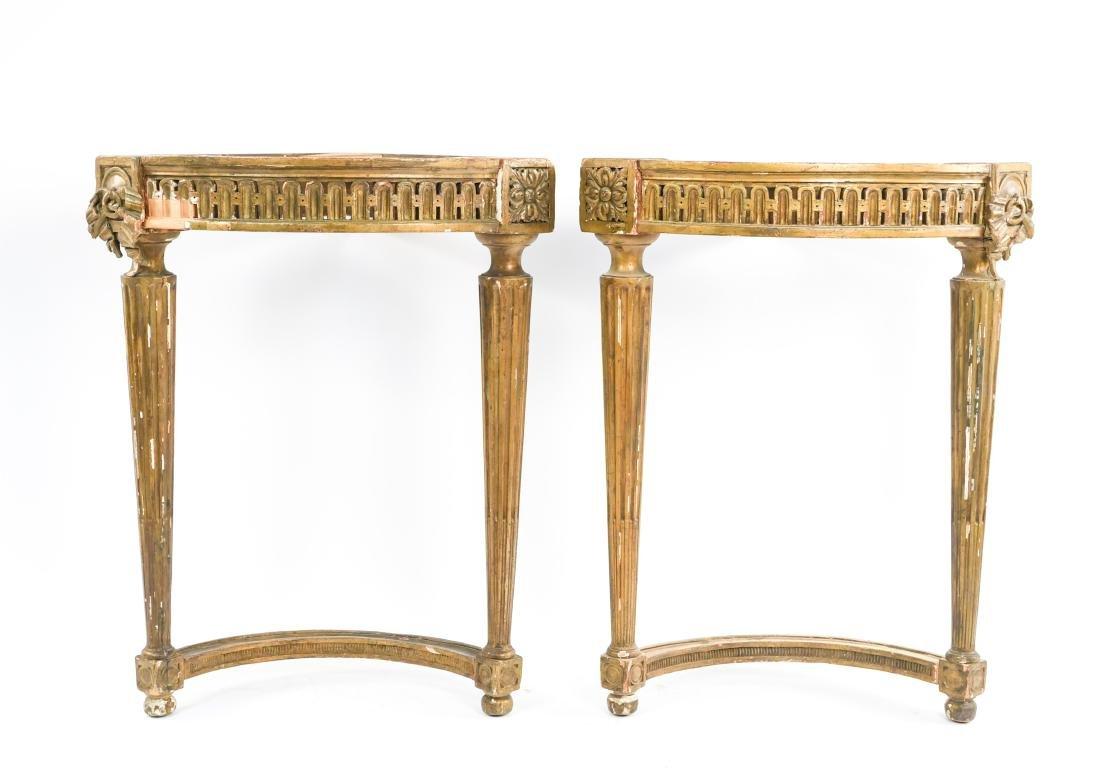 PAIR OF ANTIQUE GILTWOOD CORNER TABLES