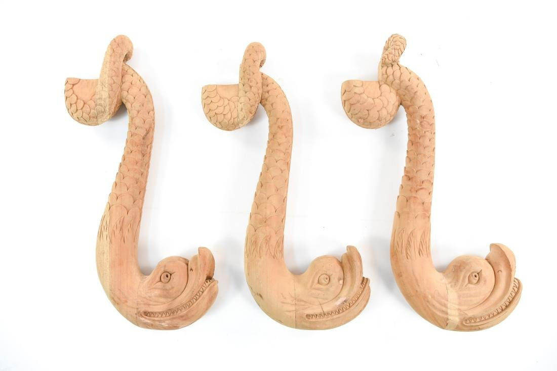 (3) CARVED WOOD FISH ELEMENTS
