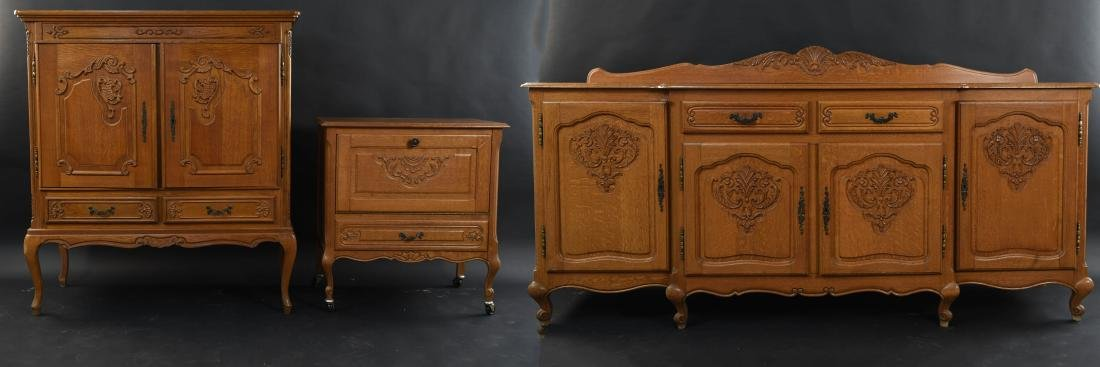 OAK FRENCH PROVINCIAL STYLE DINING SET
