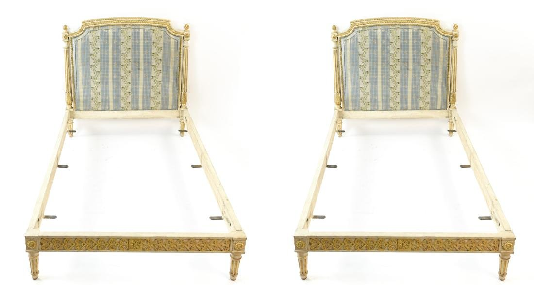 PAIR OF FRENCH STYLE TWIN UPHOLSTERED BEDS