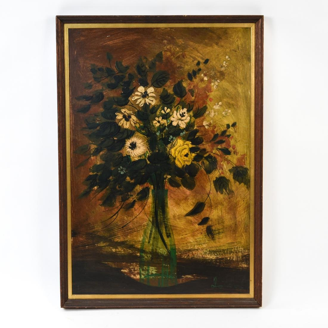 OIL ON BOARD STILL LIFE FLORAL PAINTING
