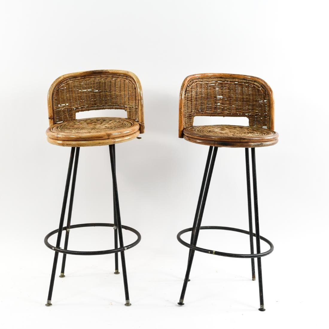 PAIR OF WICKER & IRON BAR STOOLS