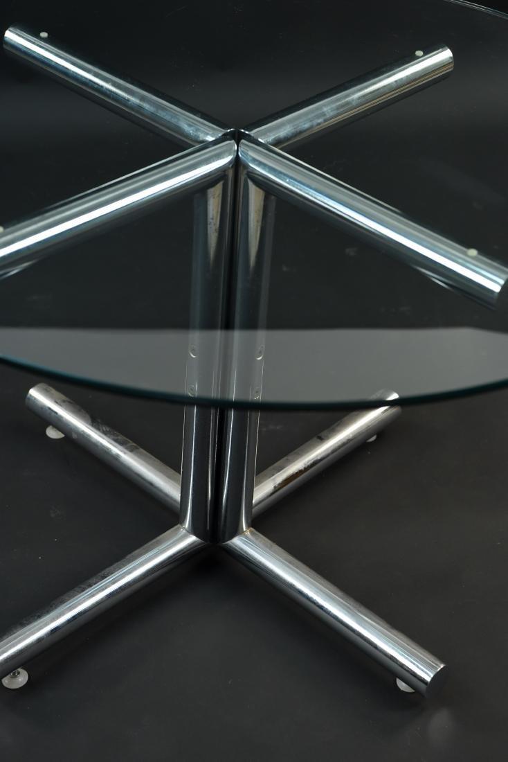 GLASS & CHROME TUBE BASE BREAKFAST TABLE - 10
