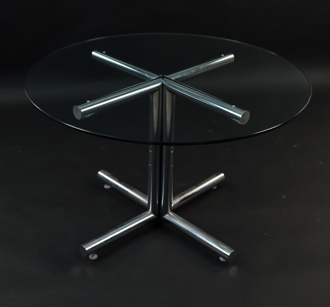 GLASS & CHROME TUBE BASE BREAKFAST TABLE