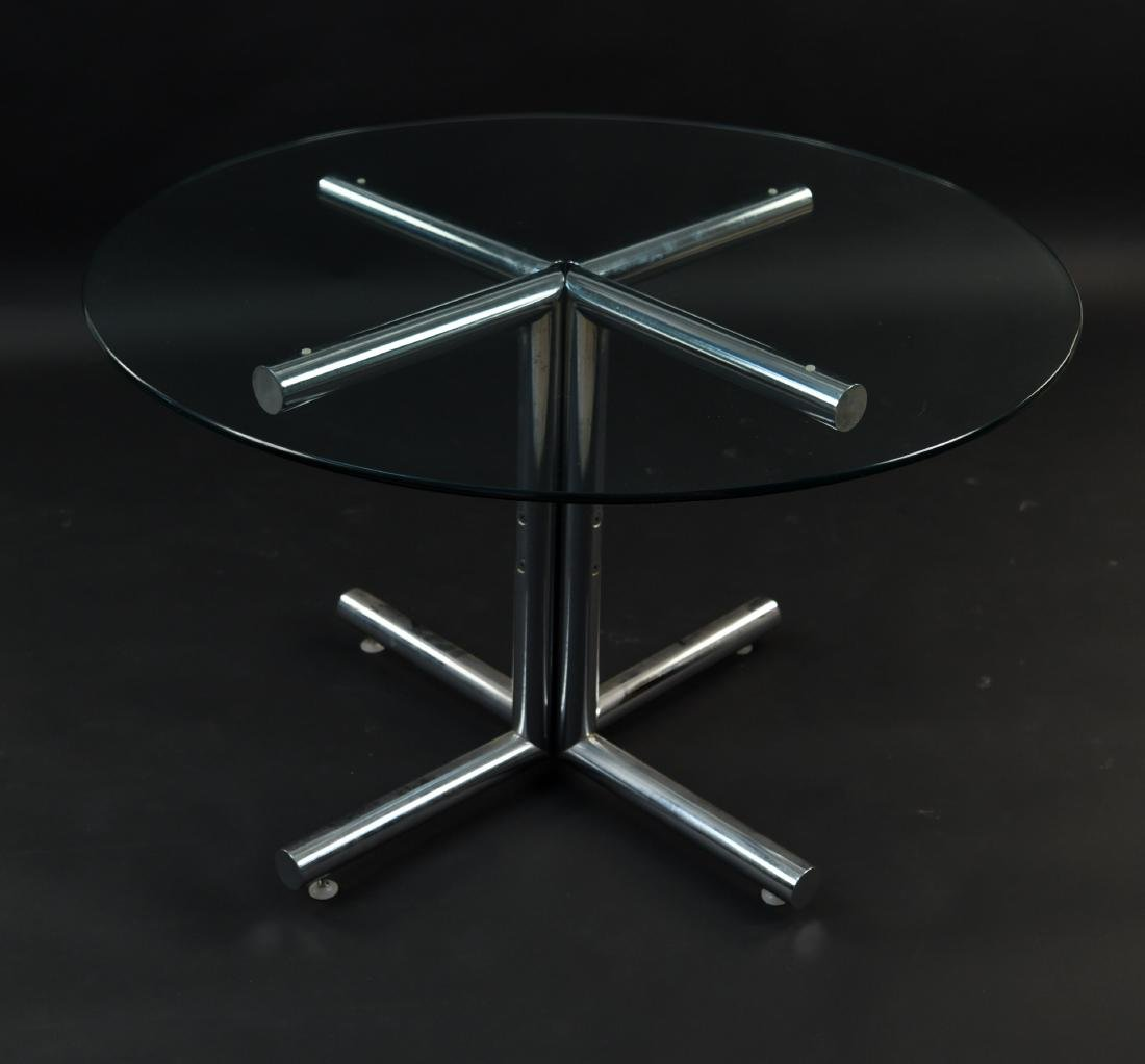 GLASS & CHROME TUBE BASE BREAKFAST TABLE