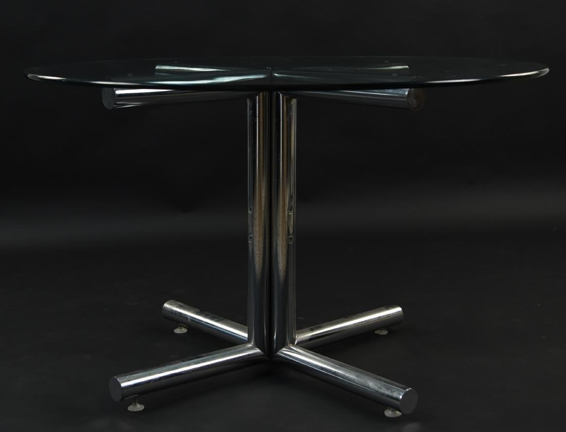 GLASS & CHROME TUBE BASE BREAKFAST TABLE - 2