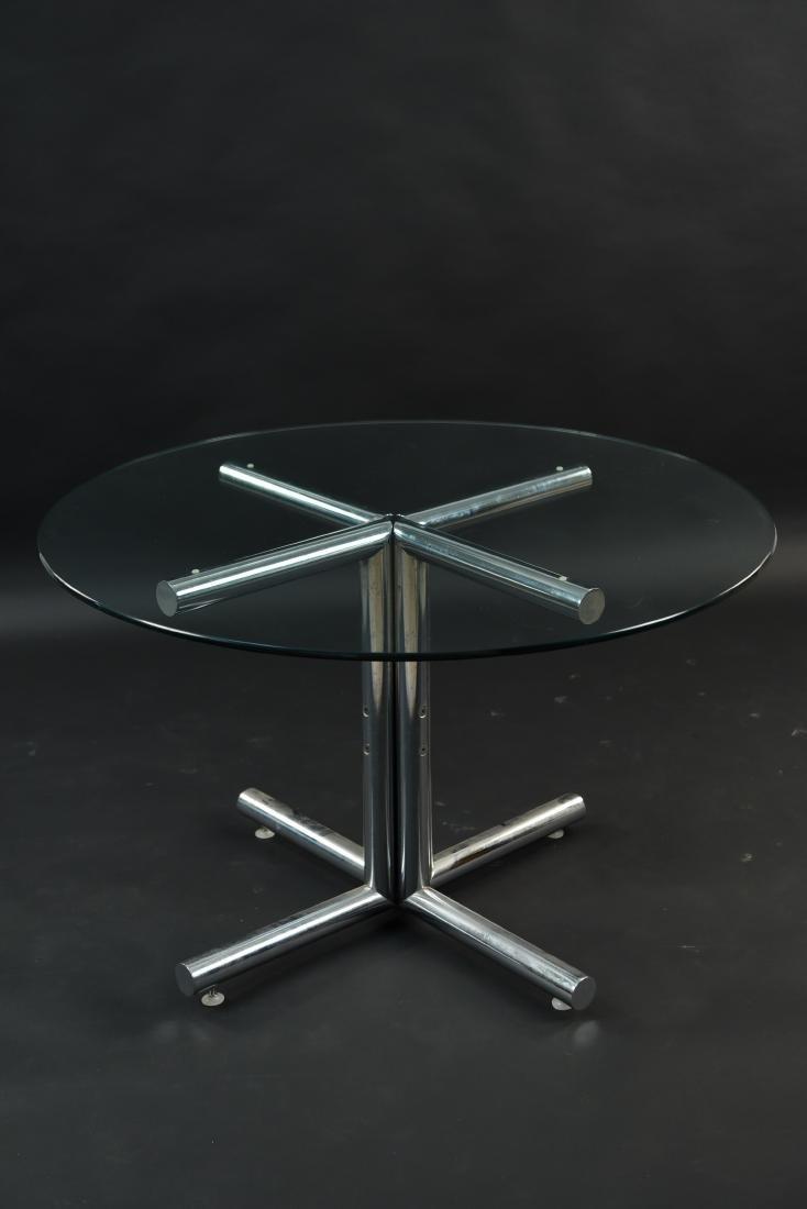 GLASS & CHROME TUBE BASE BREAKFAST TABLE - 3