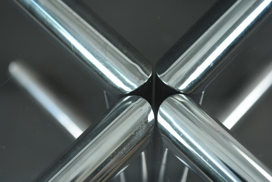 GLASS & CHROME TUBE BASE BREAKFAST TABLE - 5