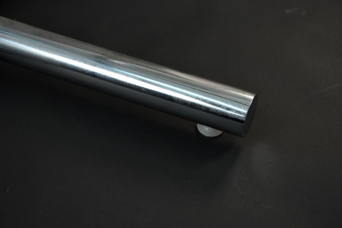 GLASS & CHROME TUBE BASE BREAKFAST TABLE - 8