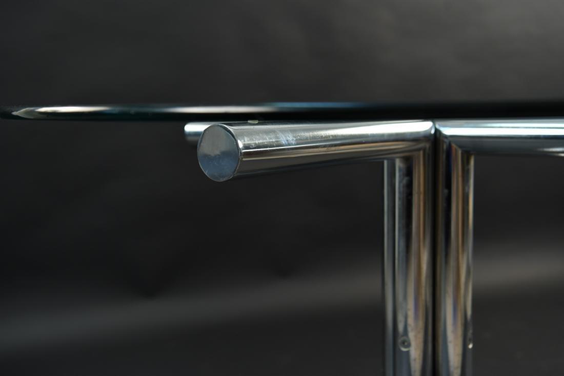 GLASS & CHROME TUBE BASE BREAKFAST TABLE - 9
