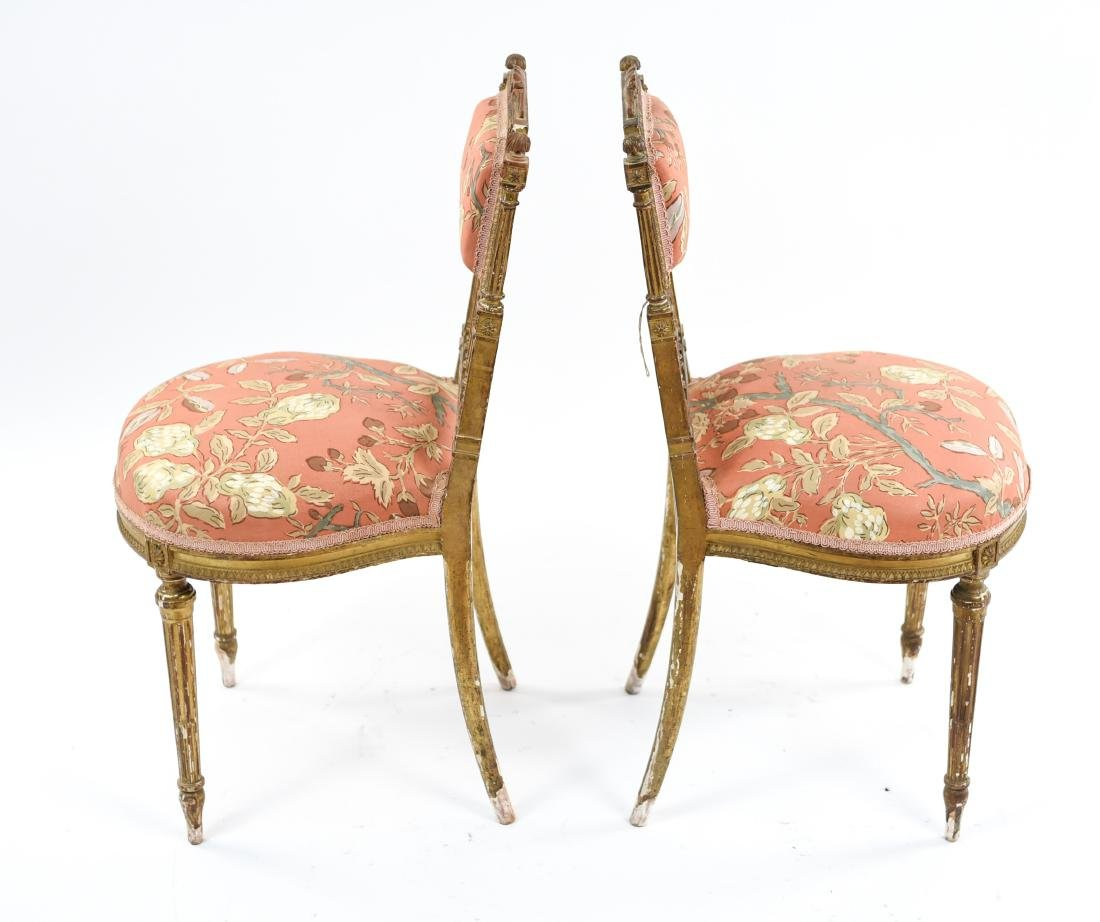 PAIR OF SMALL GILT FRENCH CHAIRS - 10