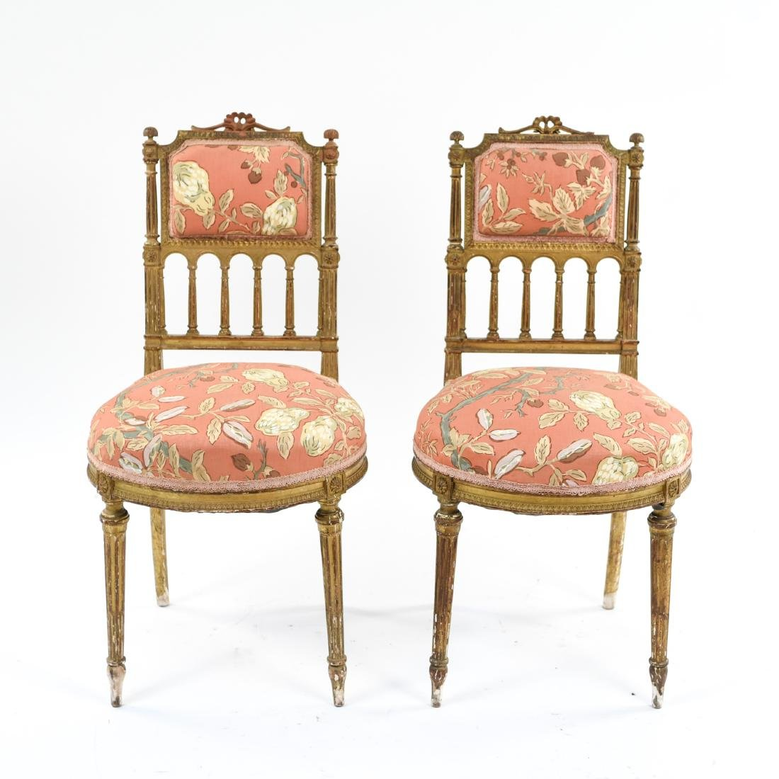 PAIR OF SMALL GILT FRENCH CHAIRS