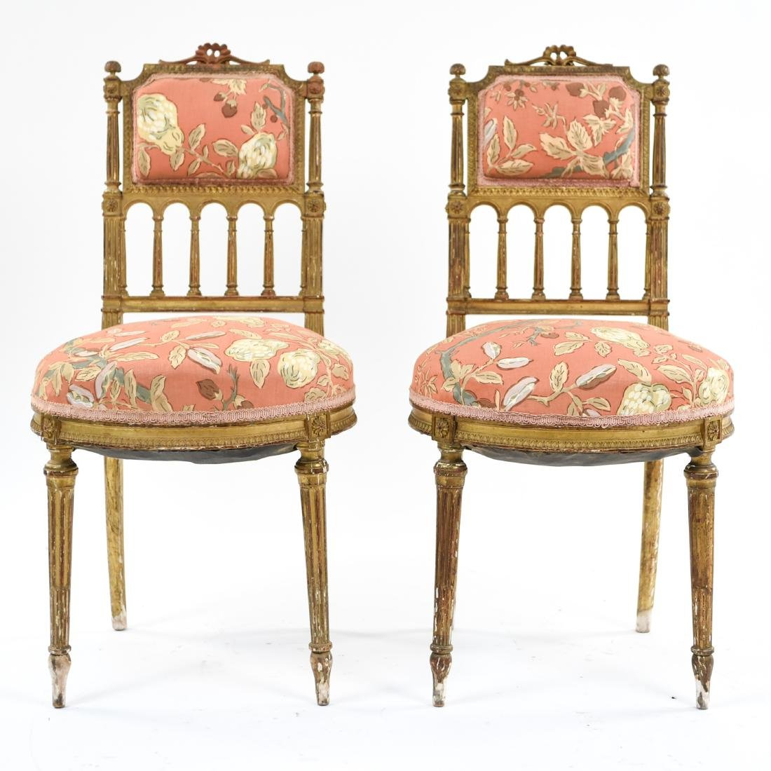 PAIR OF SMALL GILT FRENCH CHAIRS - 2