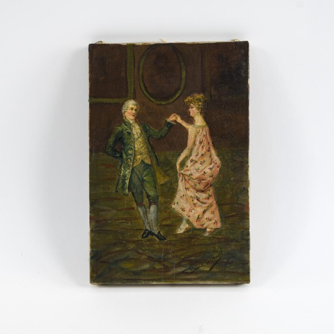 LATE 19TH C. O/C DANCING COUPLE PAINTING