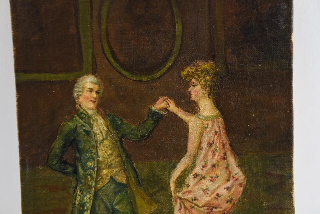 LATE 19TH C. O/C DANCING COUPLE PAINTING - 3