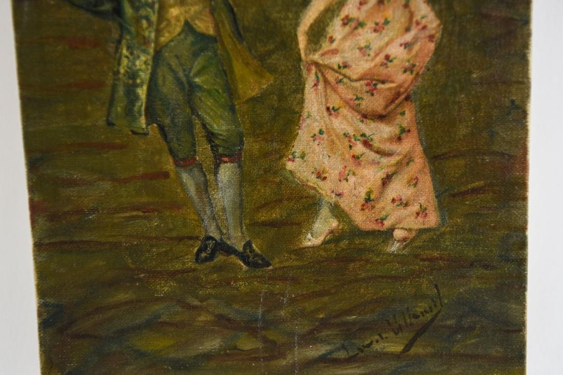 LATE 19TH C. O/C DANCING COUPLE PAINTING - 4
