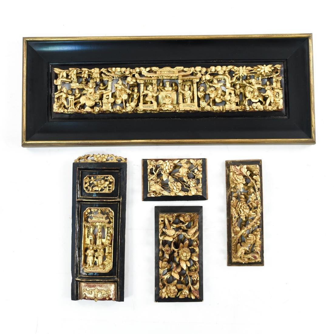 CARVED AND GILT ASIAN PANEL WALL HANGINGS
