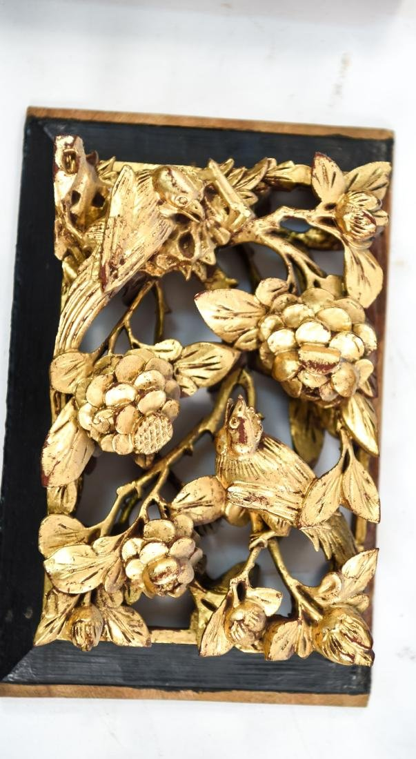 CARVED AND GILT ASIAN PANEL WALL HANGINGS - 5