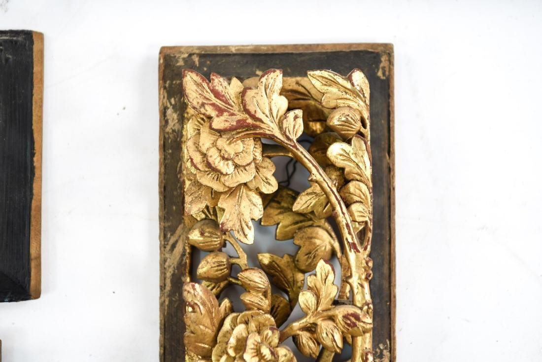 CARVED AND GILT ASIAN PANEL WALL HANGINGS - 6
