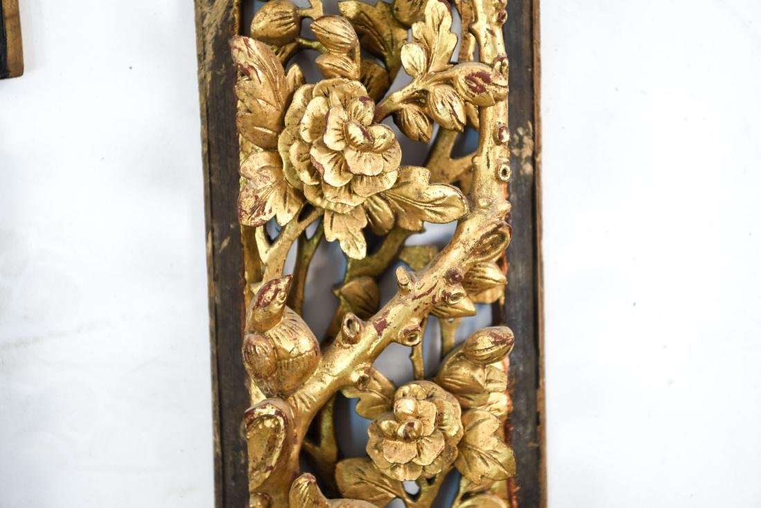 CARVED AND GILT ASIAN PANEL WALL HANGINGS - 7