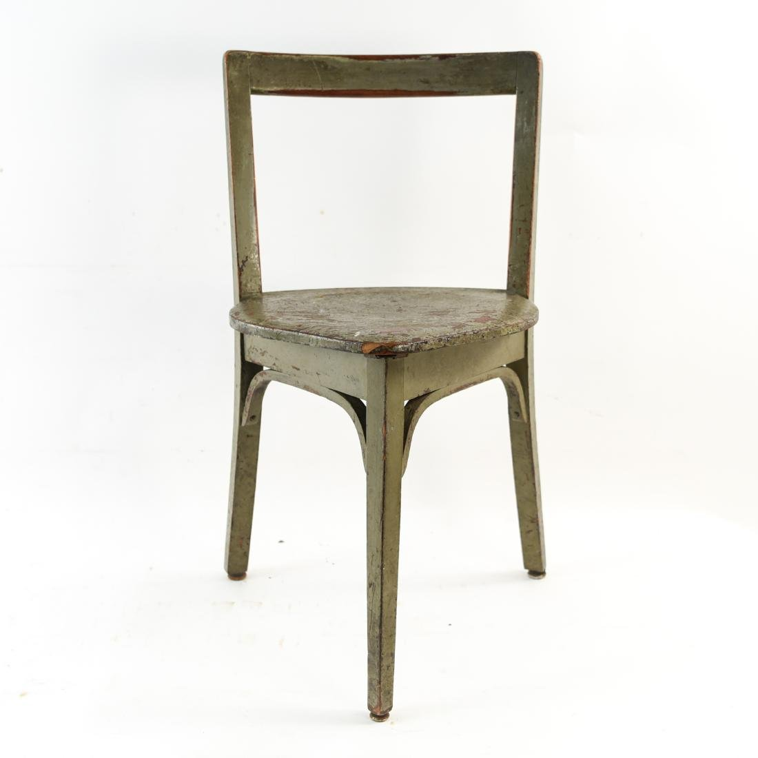 VINTAGE THREE LEGGED CHAIR OLD PAINT