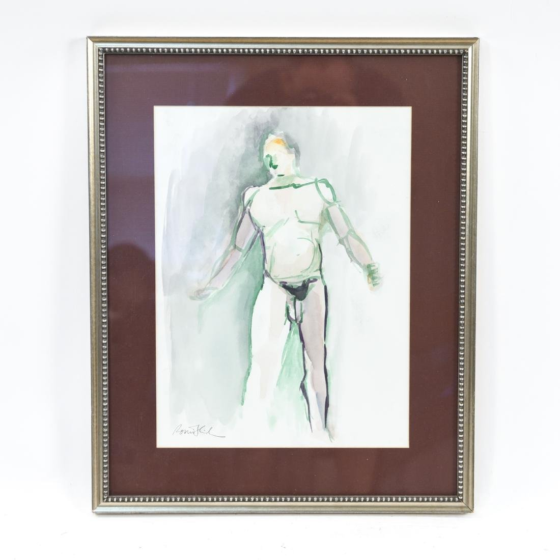 WATERCOLOR ARTIST STUDY NUDE MALE