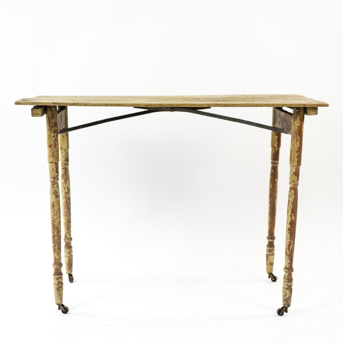VINTAGE FOLDING TABLE W/ OLD PAINT - 2