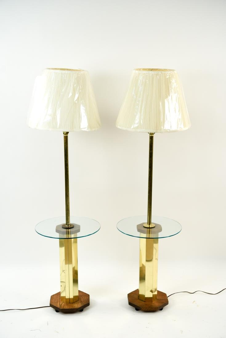 PAIR OF BRASS & WOOD FLOOR LAMPS
