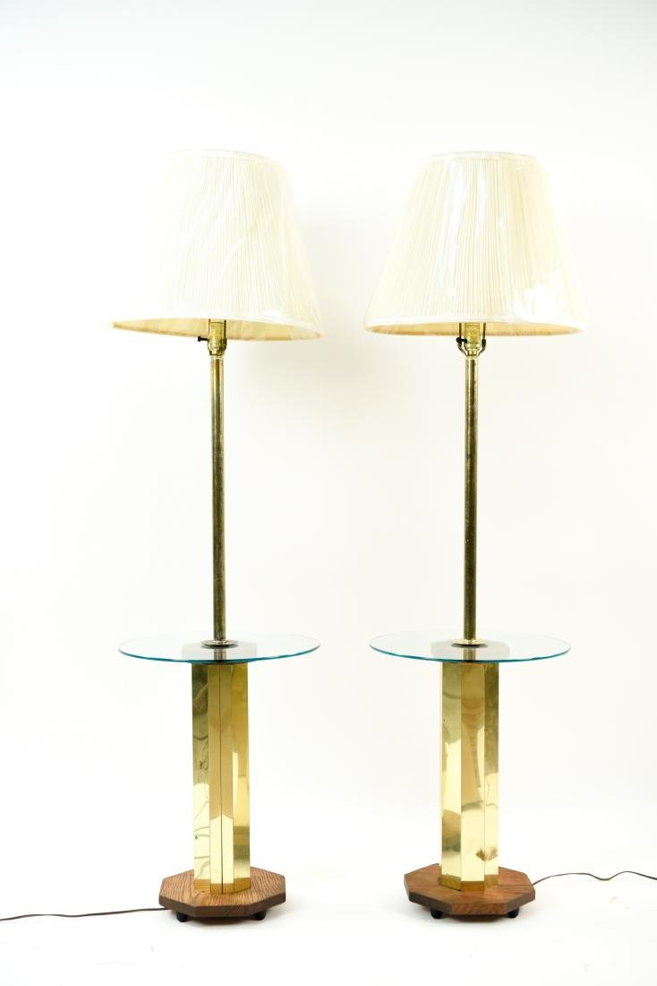 PAIR OF BRASS & WOOD FLOOR LAMPS - 2