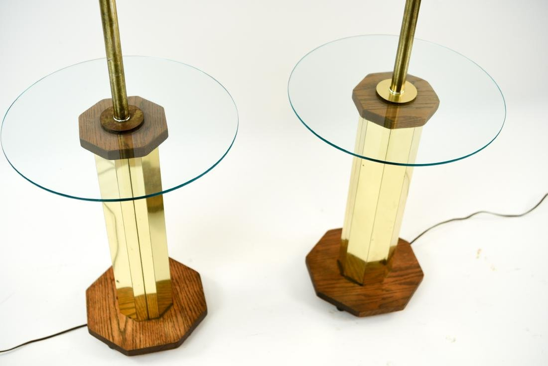 PAIR OF BRASS & WOOD FLOOR LAMPS - 3